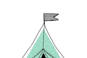 Doodle  of camping tent