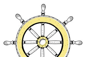 Doodle of ship's wheel