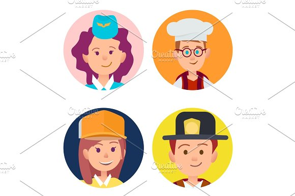 Four Icons Of Children In Adult Occupations Flat