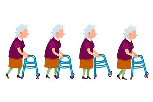 Elderly Woman with Walking Frame Illustration