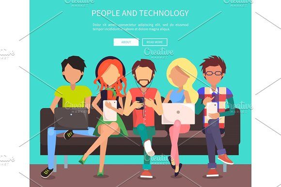 People And Technology Banner Vector Illustration
