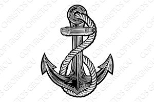 Anchor Vintage Style Tattoo Illustration