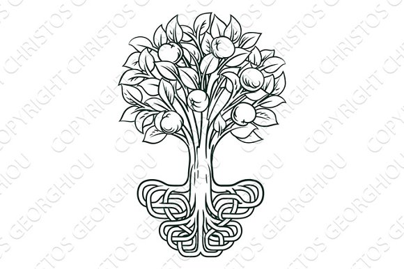 Apple Tree Roots Concept