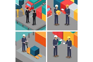 Set of Dock Workers at Warehouse. Vector