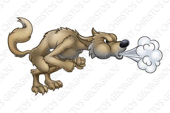Cartoon Three Little Pigs Big Bad Wolf Blowing