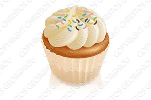 Fairy cake cupcake with sprinkles