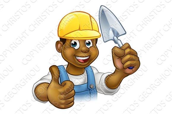 Black Builder Bricklayer Worker With Trowel Tool