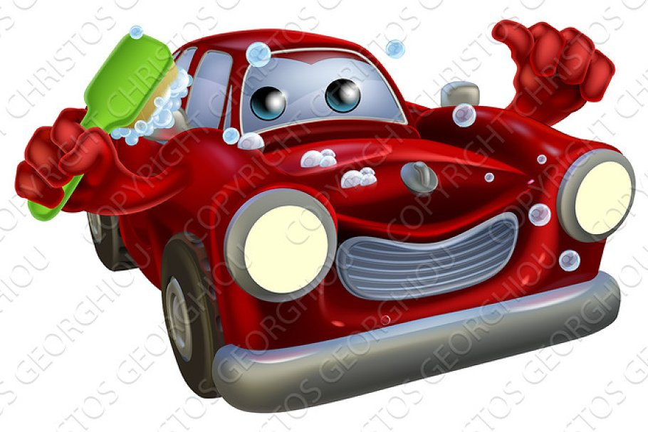 Car valet cartoon in Illustrations - product preview 8