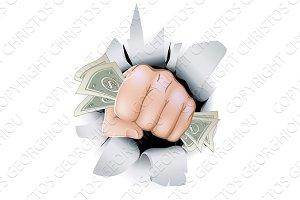 Cash fist breaking through wall
