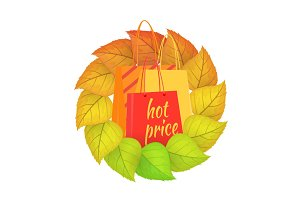 Paper Bags Hot Price in a Wreath from Leaves.