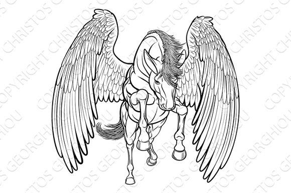Rearing Pegasus Horse