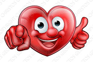 Pointing Heart Cartoon Character