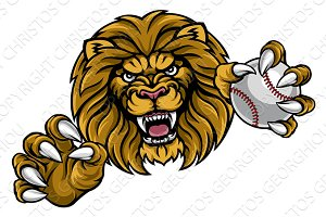 Lion Baseball Ball Sports Mascot