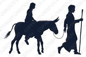 Mary and Joseph Christian Illustration Silhouettes