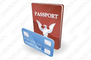 Passport and credit card illustration. Personal identity concept