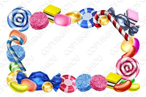 Candy Sweets Frame Background Sign