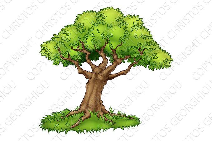 Cartoon Tree and Grass ~ Illustrations ~ Creative Market