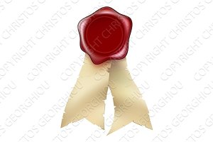 Blank Red Wax Seal and Ribbons