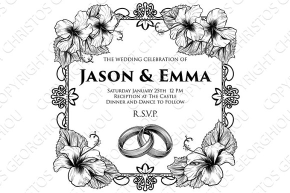Wedding Bands Hibiscus Flowers Wedding Invitation