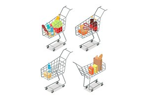 Set of Trolleys with Food. Supermarket Equipment.