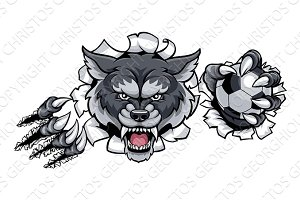 Wolf Soccer Mascot Breaking Background