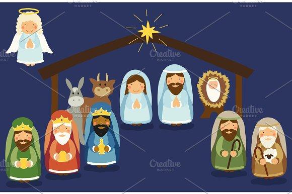 Cute Hand Drawn Characters Of Nativity Scene