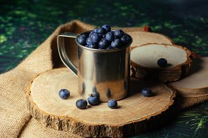 Blueberries in mug
