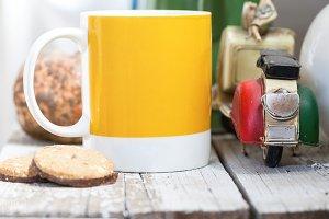 Coffee mug cookies motorcycle model