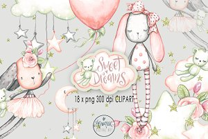 Cute Bunny Clipart, Watercolor