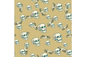 Death and money seamless pattern background