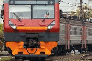 Rail way - big iron red - passenger train