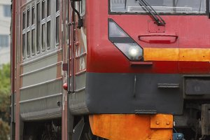 Rail way - big iron red - passenger train, vertical