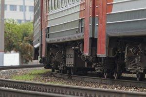 Rail way - train wheels of passenger train