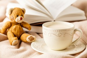 Cup of tea with book