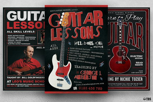 Guitar Lessons Flyer Bundle-Graphicriver中文最全的素材分享平台