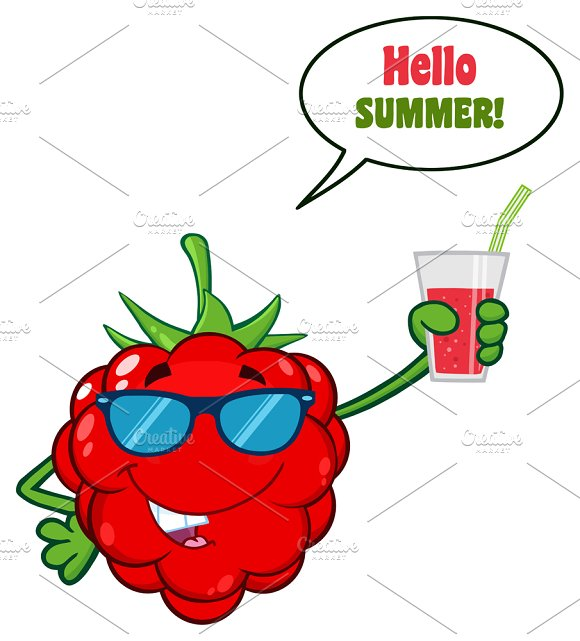 Raspberry Fruit Cartoon Character