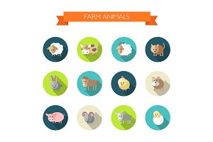 12 Animals Flat Design Vector Icons