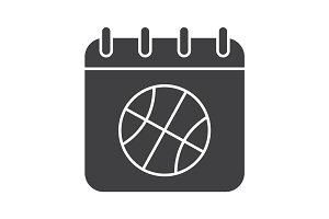 Basketball championship date glyph icon