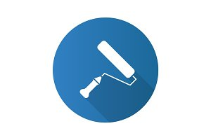 Paint roller flat design long shadow glyph icon