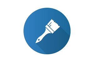 Paint brush flat design long shadow glyph icon