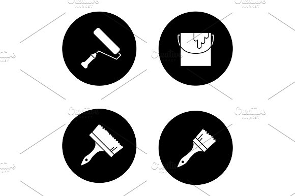 Painting Tools Glyph Icons Set