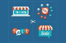 Vector Flat Design Sale Tags Set