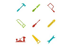 Construction tools glyph color icon set