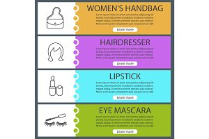 Cosmetics accessories web banner templates set