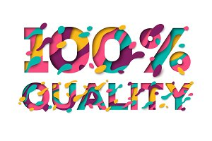 100 Quality sign with abstract paper cut shapes