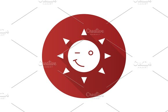Winking Sun Smile Flat Design Long Shadow Glyph Icon
