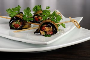 Eggplant rolls stuffed   vegetables