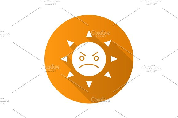 Angry Sun Smile Flat Design Long Shadow Glyph Icon
