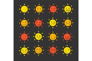 Sun smiles glyph color icon set