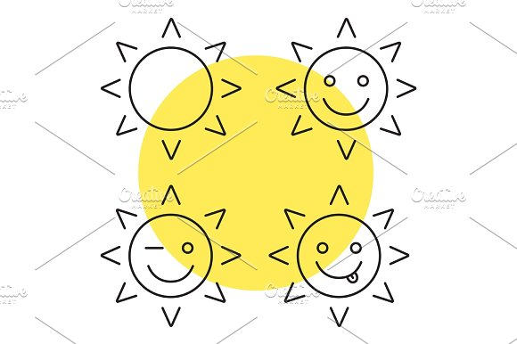 Sun Smiles Linear Icons Set